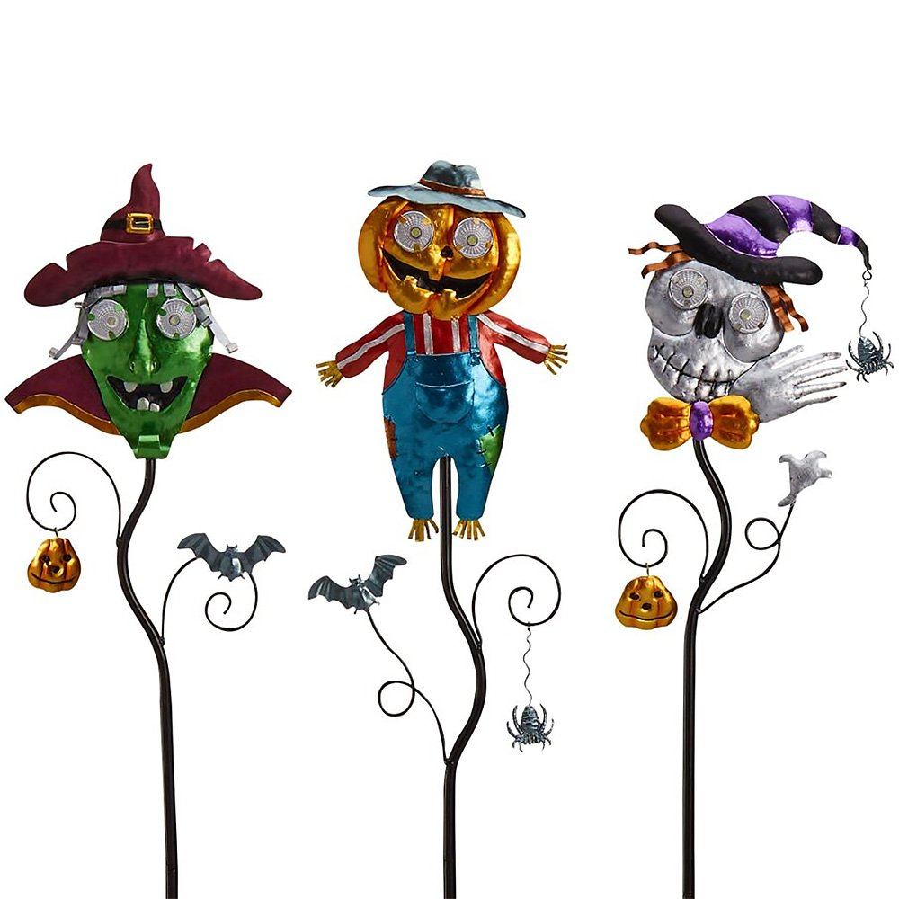 Goblin Guiders - Solar Powered Halloween Decorative Lights - Bundle of 3 - Green Goblin, Jolly Pumpkin Scarecrow and Smiling Skeleton