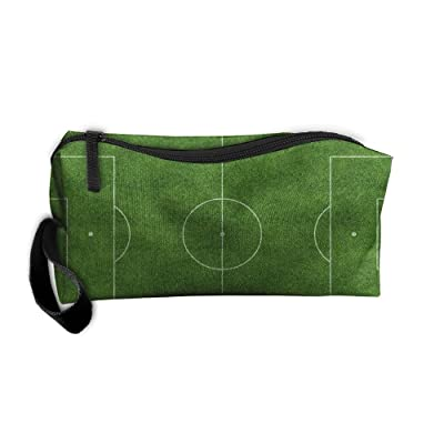 Kerera Soccer Ground Green Grass Graphic Multifunction Portable Pouch Travel Bag Carrying Case