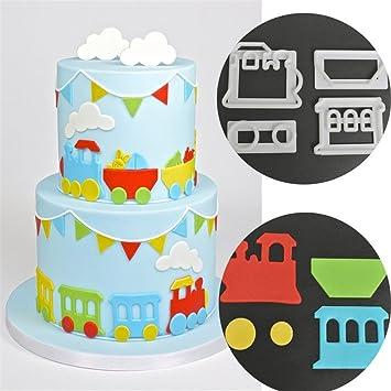 Amazon De Hengsong 4 Cookie Cutter Kunststoff Kleiner Zug Fondant