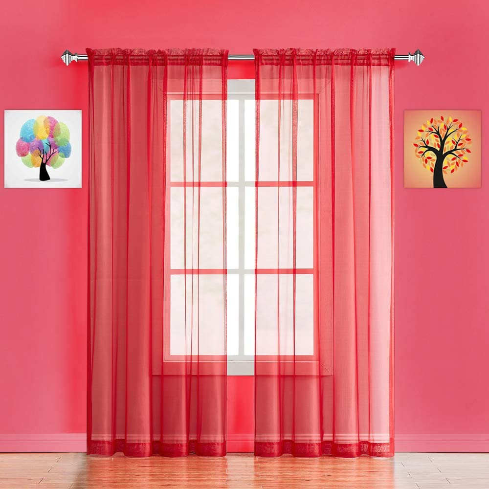 """WARM HOME DESIGNS Pair of Standard Length Christmas Red Sheer Window Curtains. Each Voile Drape is 56 X 84 Inches in Size. Great for Kitchen, Living, Kids Room. 2 Fabric Panels. AM Red 84"""""""