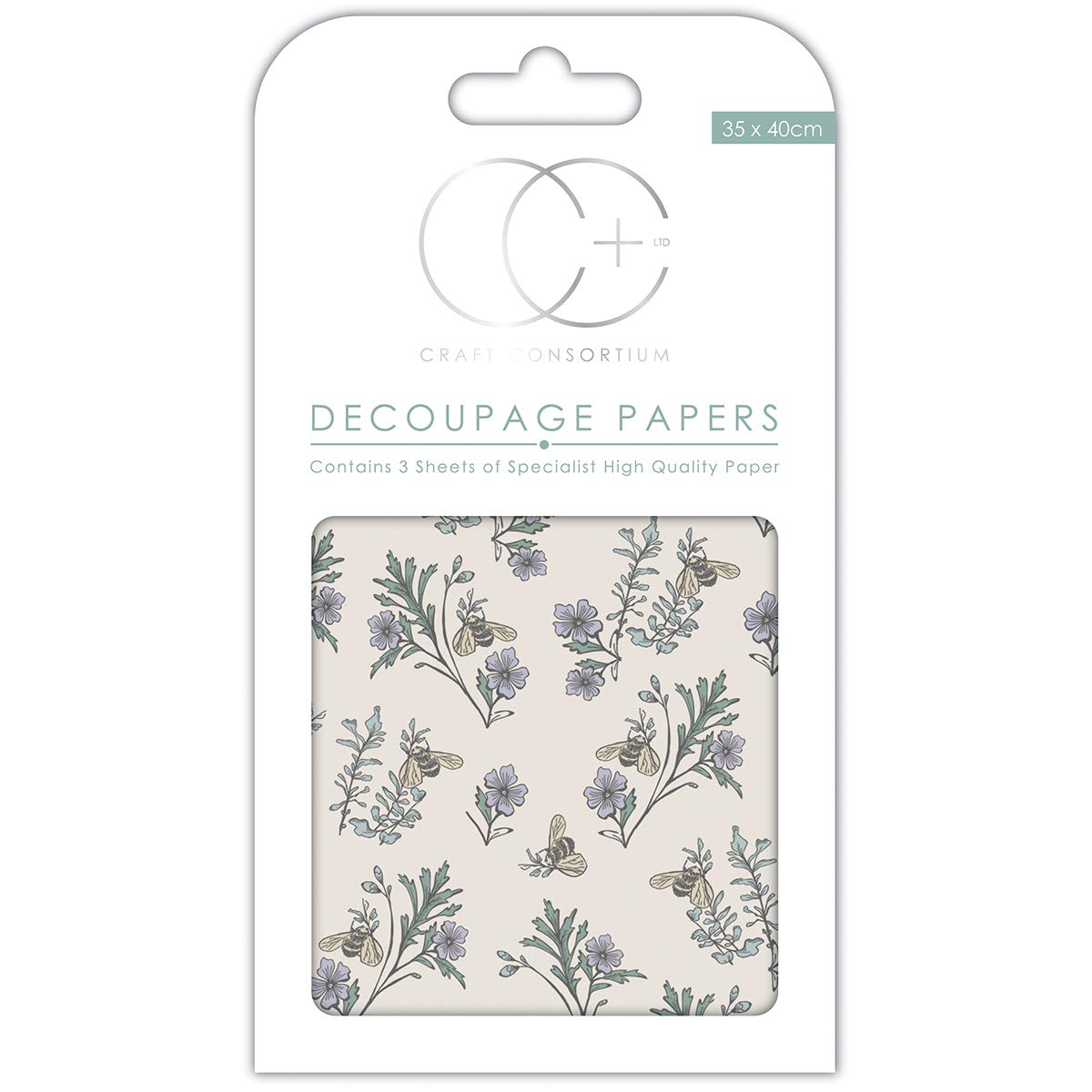 13.75 x 15.75 Craft ConsortiumBee /& Heather Decoupage Papers 3//Pack