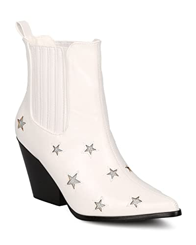 Women Leatherette Stars Cowboy Boot - Dressy Special Occasion Costume - Block Heel Bootie - GF80 by