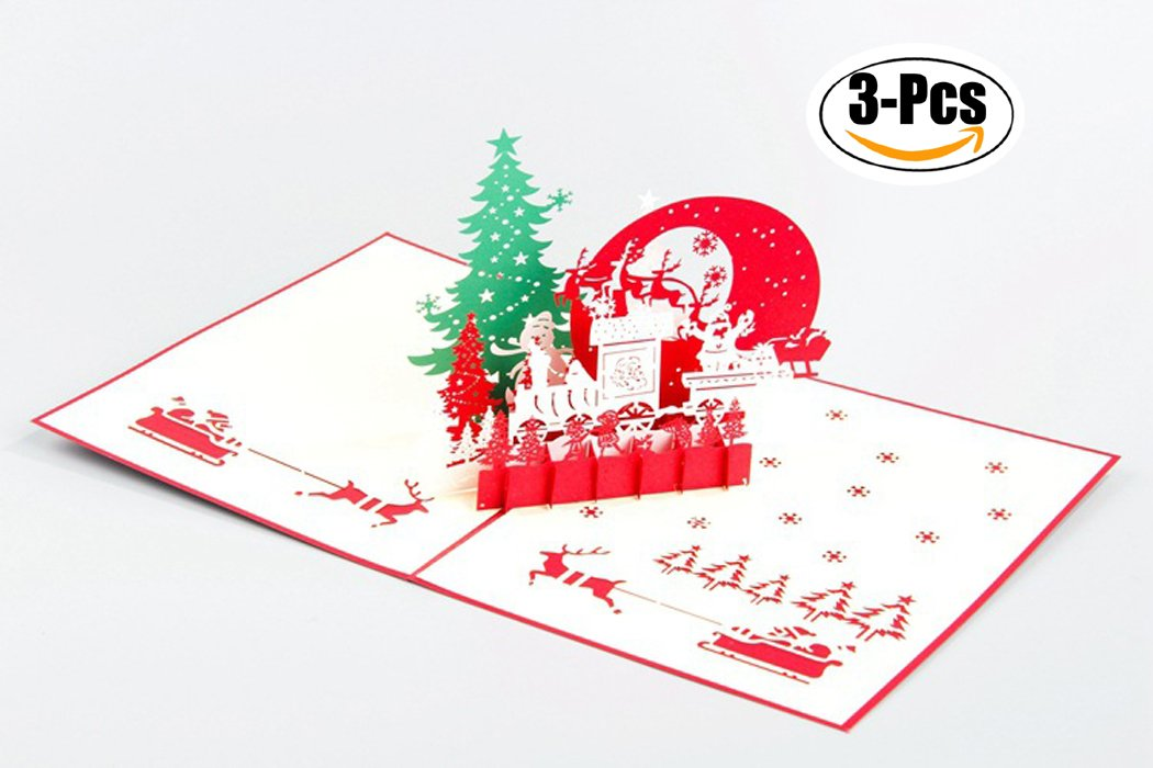 Christmas Card, Outgeek 3 Pcs 3D Pop Up Christmas Tree Greeting Cards with Envelopes