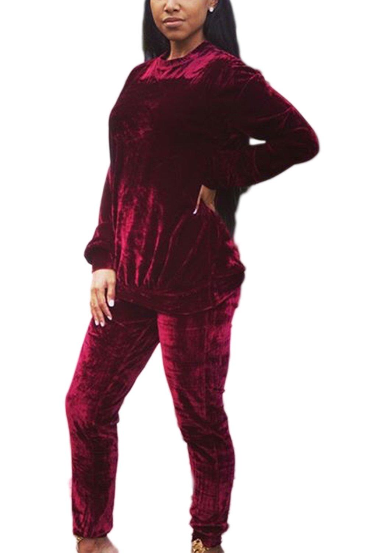 Women Autumn Winter Casual Velvet 2 Pieces Solid Sports Suit Sets CAFZ1771