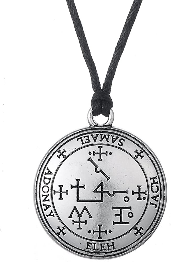 fishhook Key of Solomon The Sigil of The Archangel Samael for Magical Intentions Pendant Necklace