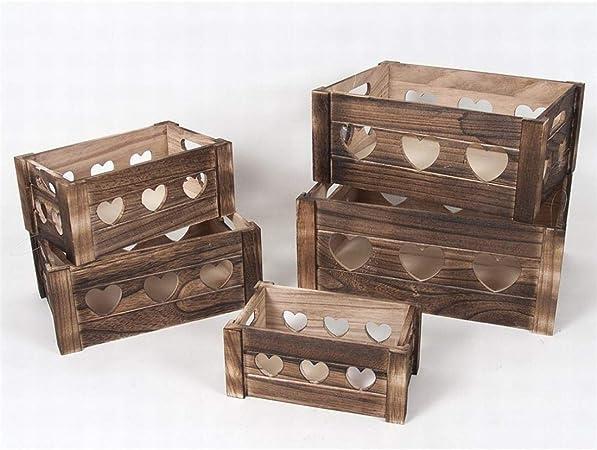 Gerimport Set de 5 Cajas de Madera Corazones (Medida Caja Grande 37x28x16 cm): Amazon.es: Hogar