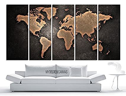 Amazon ezon ch extra large canvas modern embossed orange world ezon ch extra large canvas modern embossed orange world map on metalic black background 5 gumiabroncs Gallery