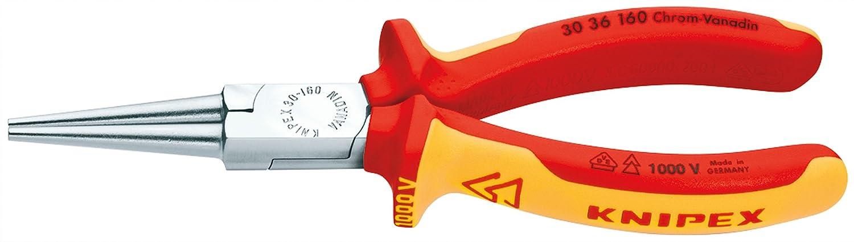 KNIPEX 30 36 160 Alicate de boca larga cromado aislados con fundas en dos componentes seg/ún norma VDE 160 mm