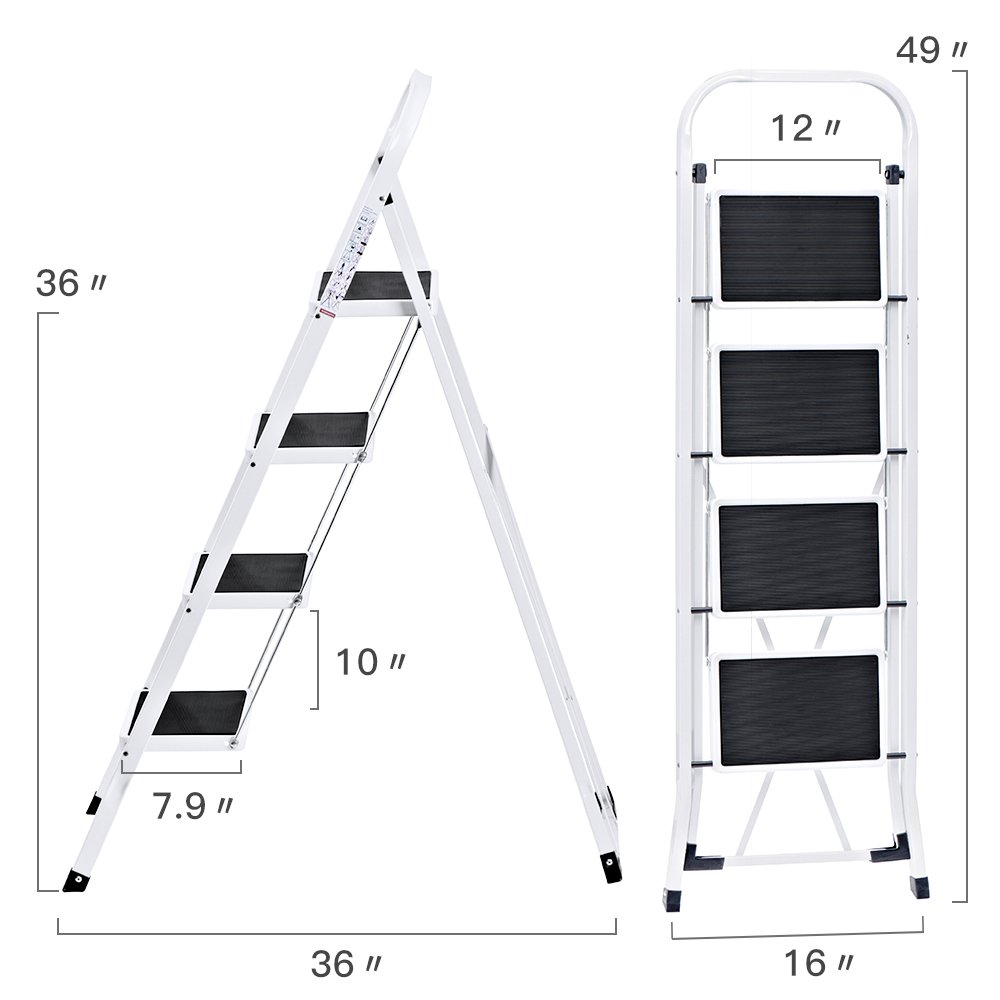Delxo Folding 4 Step Ladder Ladder With Convenient Handgrip Anti-Slip Sturdy and Wide Pedal 330lbs Portable Steel Step Stool White and Black 4-Feet (WK2040-3) by Delxo (Image #6)