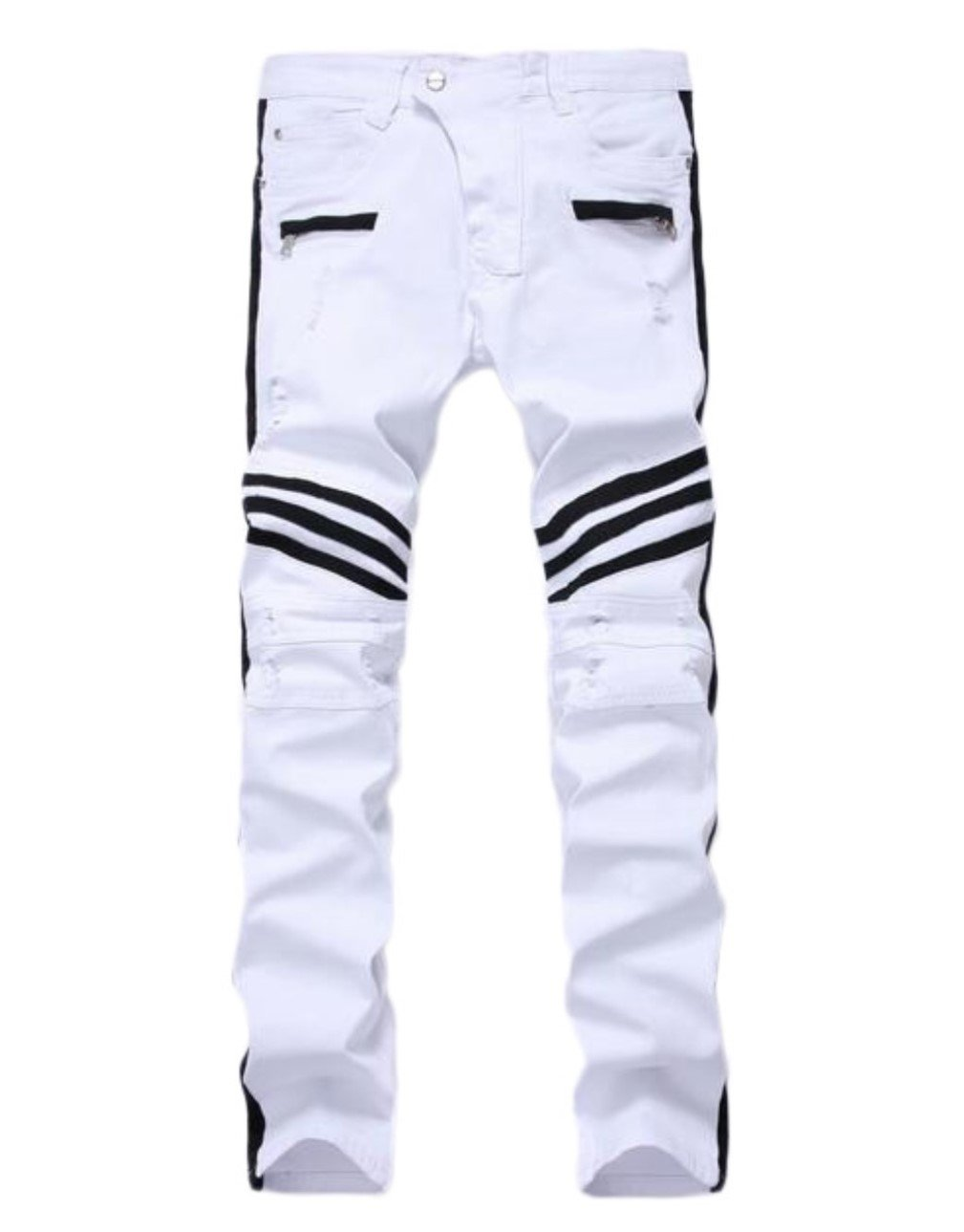 Juakita Barpsa Men's White Biker Ripped Destroyed Distressed Straight Slim Fit Skinny Jeans W42