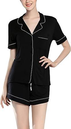 Dolamen Pijamas Camisón para Mujer, Mujer Algodón Modal Corto Camisones Pijamas, lencería Collar de botón con Botones Neglige Lencería Ropa de Dormir