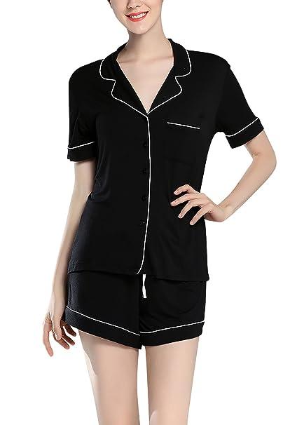 Dolamen Pijamas Camisón para Mujer, Mujer Algodón Modal Corto Camisones Pijamas, lencería Collar de