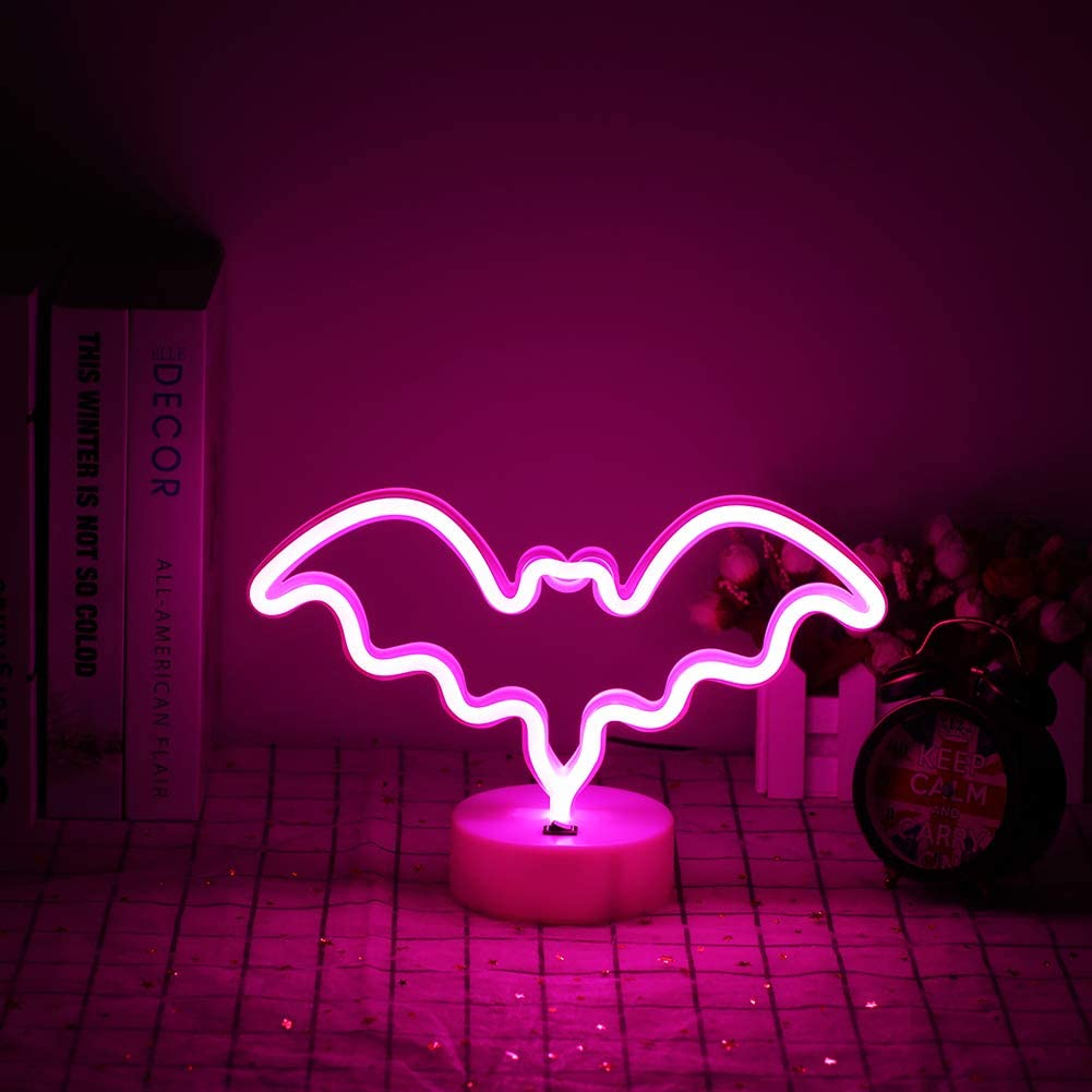 Halloween Ghost Neon Signs LED Neon Night Light with Base Holder Table Decor for Kids Room Halloween Party Decorations (Pink)