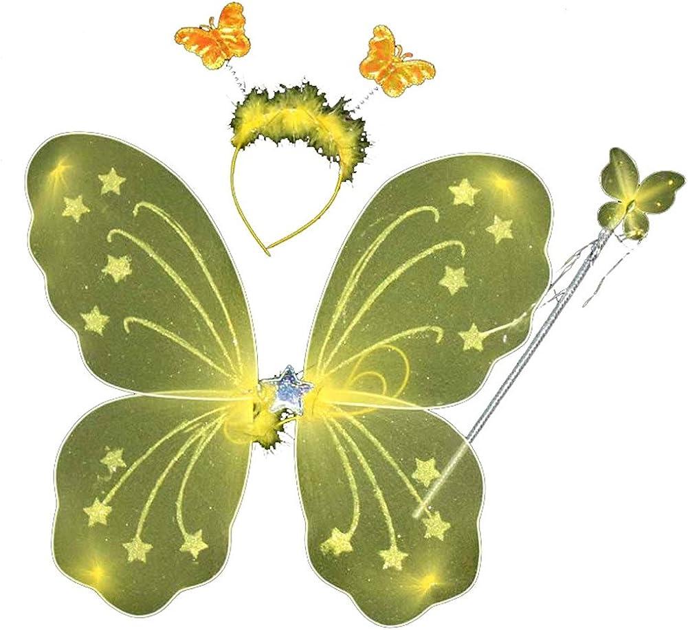 ESHOO Kid Girl Butterfly Wing Wand Headband Fairy Xmas Party Costume 3Pcs//Set