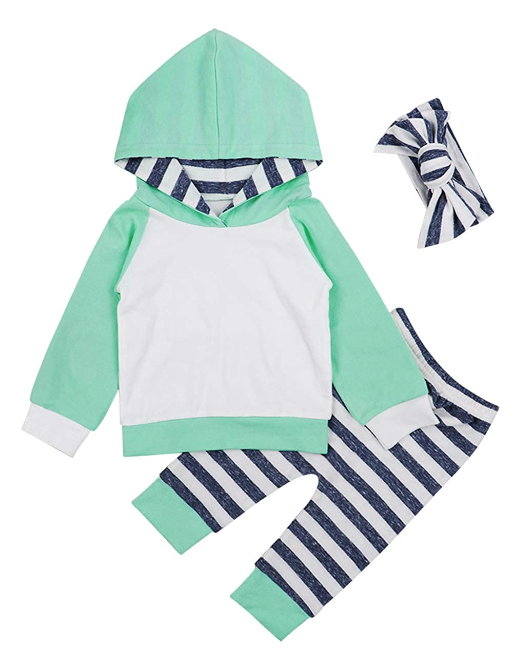 Baby Boys Girls Clothes Long Sleeve Hoodie Tops Sweatsuit Pants Headband Outfits Set