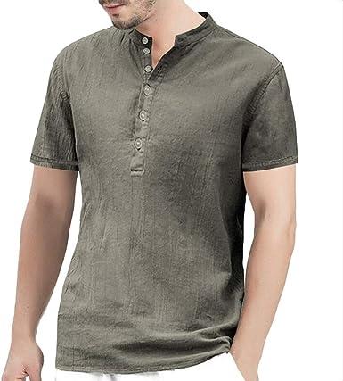 Camisa de Lino para Adolescente, Cuello de Henley, Manga ...
