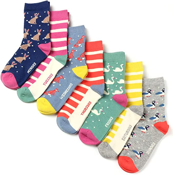 COTTON DAY 7 Days of the Week Girls Cotton Crew Socks Gift Box Set