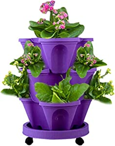 Haozhixin 3-Tier Strawberry Pot Stackable Vertical Flower Pots Set Indoor / Outdoor Vegetables Herb Planters Kitchen Balcony Stacking Pots Garden Tower with Removable Tray(Purple)