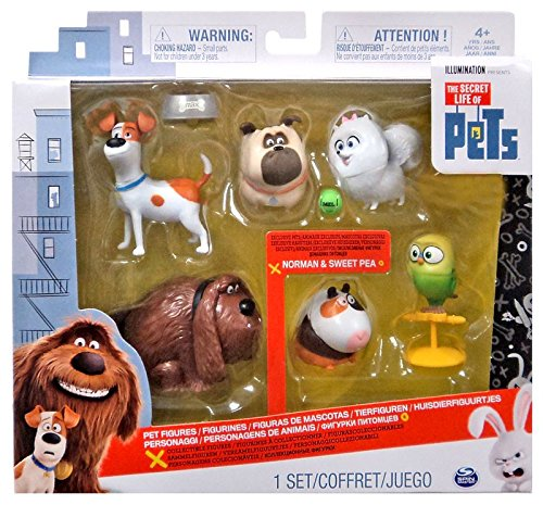 The Secret Life of Pets - Mini Pets Collectible Action Figures Figurines Toys Set (Exclusive), 6 Pack, with Dogs Max, Duke, Mel, Gidget, and Sweet Pea (Bird), Norman (Guinea Pig)
