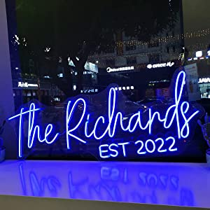 Custom LED Neon Signs, Large Neon Lights Sign for Bedroom Wedding Birthday Party Home Décor Personalized Custom Neon Sign Bar Salon Cafe Shop Night Light Sign Logo (1 Line Text, Max 35