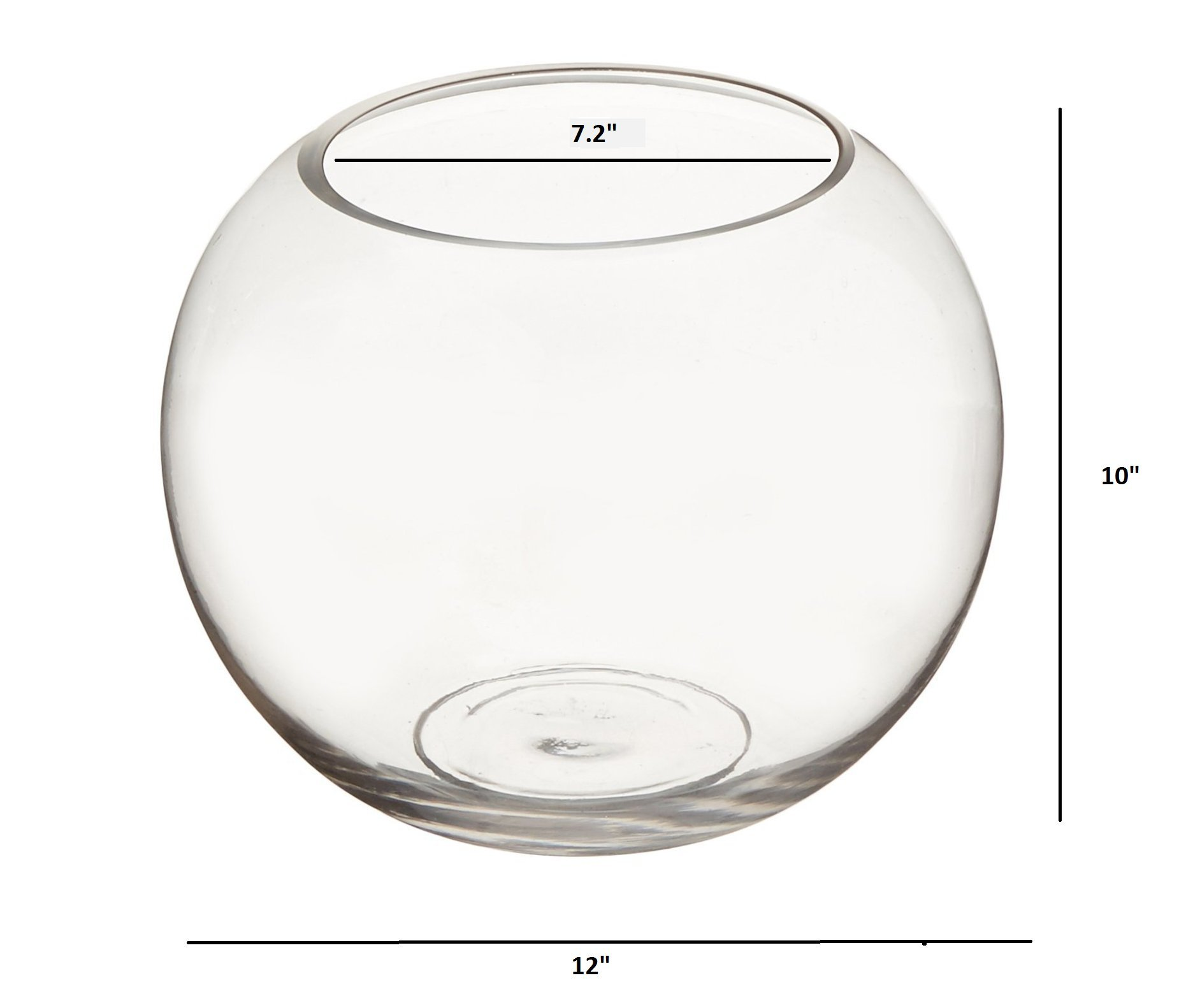 Candles4Less - 12 x 10 Inch Large Clear Glass Bubble Bowl Vases (Set of 2) by Candles4Less