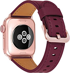 JIKE Compatible with Apple Watch Band 38mm 40mm, 42mm44mm Genuine Leather Watch Strap Compatible with Apple Watch Series 6/5/ 4/ 3 /2/ 1,SE Sport and Edition (wine red/Rose Gold , 38mm40mm)