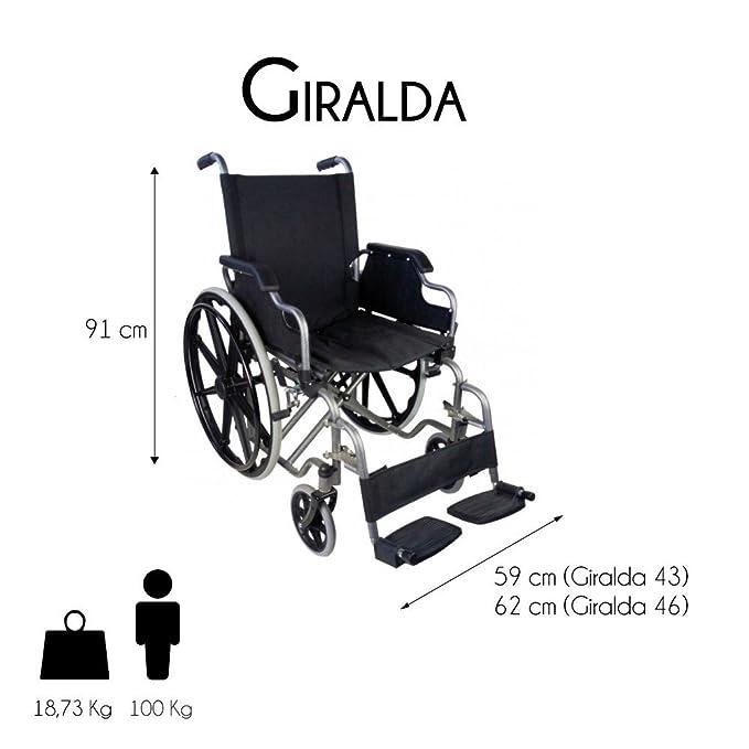 Mobiclinic Giralda Silla de Ruedas, Plegable, Ruedas Grandes, Ortopédica, Reposabrazos abatibles, Asiento de 46 cm, Negro