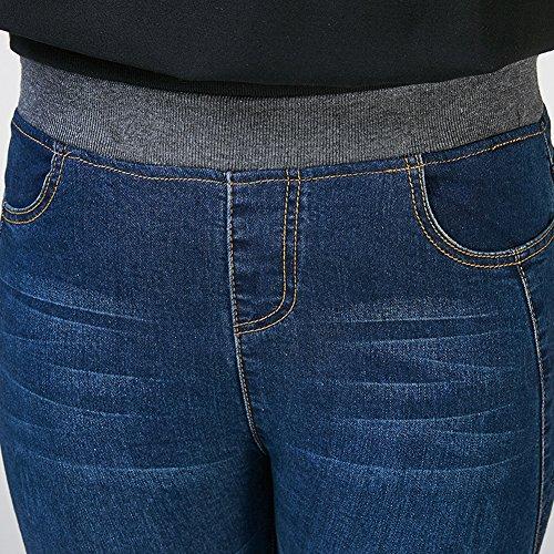 Vita Alta Pantaloni Jeggings Eleganti Skinny Denim Marino Slim Blu Stretch Donna Jeans wzqZw