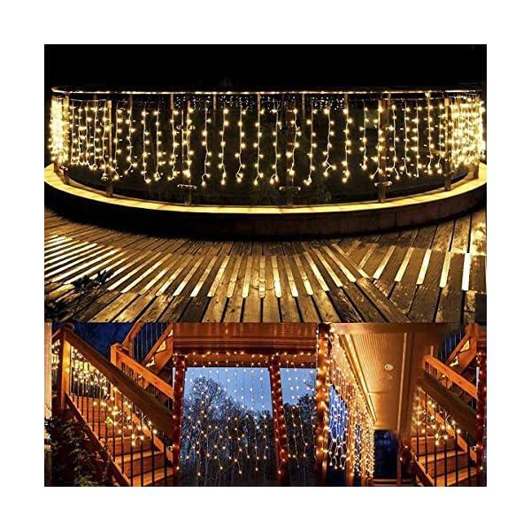 Cascata luci! Tende 480 LED con telecomando, tenda led con 8 modalità, luci matrimonio per feste, casa, cortile, finestra, patio, facciata, Natale, San Valentino, matrimonio ecc. (Bianco caldo) 5 spesavip