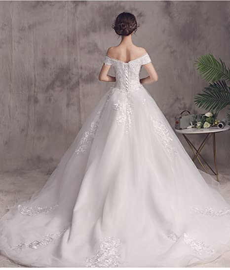 WLM Meili Palabra Hombro Vestido de Novia 2018 Novia Coreana se casó con Mujeres Embarazadas de Gran tamaño era Delgada Cola Larga Qi Princesa: Amazon.es: ...