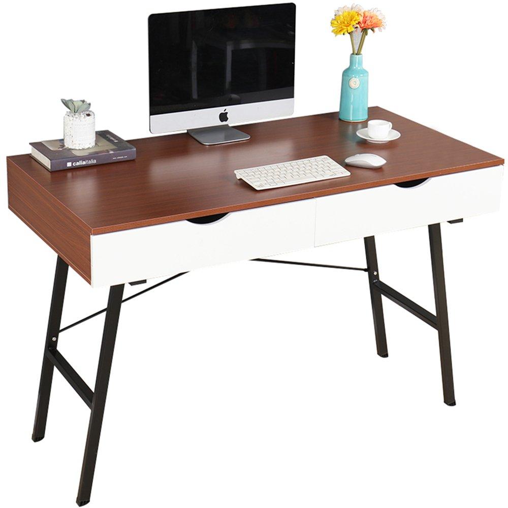 Dland 47'' Home Office Desk 868-T, Composite Wood Board, Computer Desk/ Workstation/ Dressing Table with 2 Drawers, Teak, 1 Pack