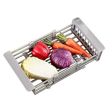 TY&WJ Escalable Escurreplatos,Cocina Fregadero Cubiertos Soportes para tazas Frutas Verduras Estante del almacenaje Tendedero