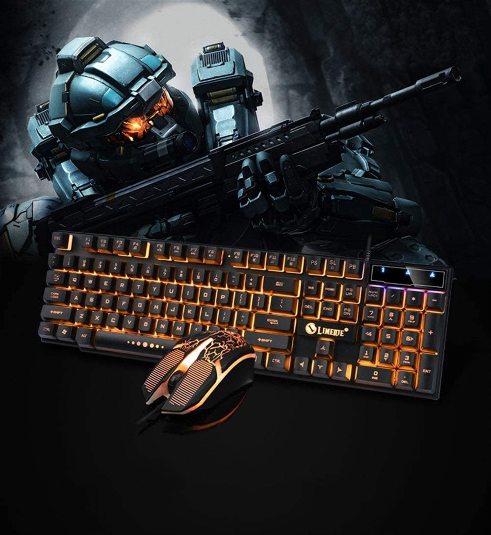 Wired Light Mouse and Keyboard Set USB Keyboard and Mouse 4 Colors Windows PC Gamer Desktop CQIANG Keyboard Color : Black Gold Rainbow Floating Backlight Mouse and Keyboard