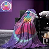 Indie throw blanket Human Silhouette Lotus Position Triangles Circles Galaxy Meditation Yoga miracle blanket Lavander Pink Blue size:59''x35.5''