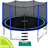 Zupapa 15 14 12 10 FT Trampoline 425 LBS Weight Capacity for Kids with Safety Enclosure Net Outdoor Trampolines with All Accessories