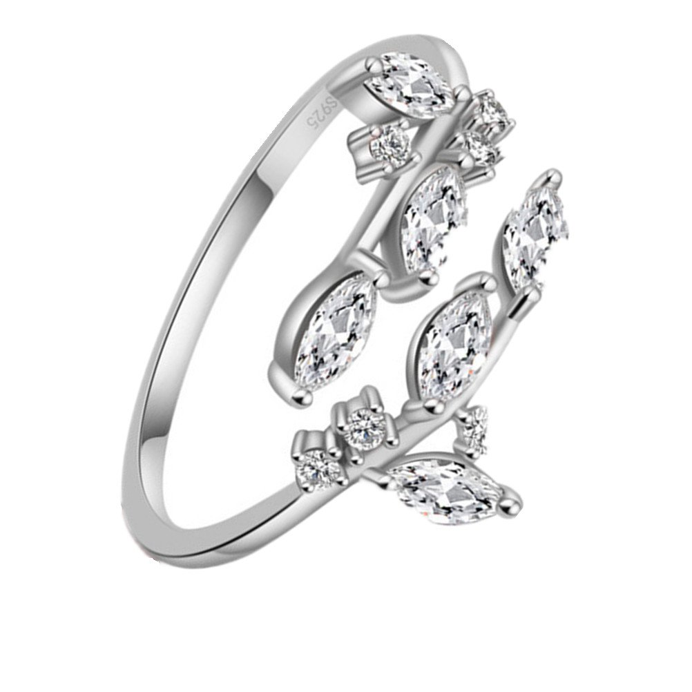 KOREA-JIAEN Branch Ring S925 Sterling Silver Plated Base 5A Level Cubic Zirconia Opening Ring (White gold)