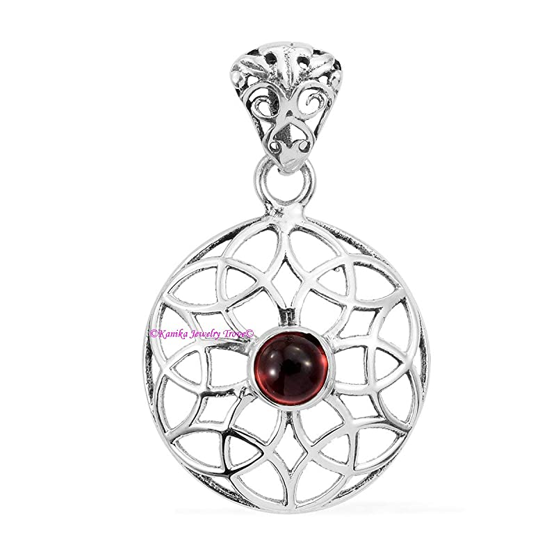 Elegant Natural Garnet simple oval Pendant 925 Pure Silver Fashion Statement January Birthstone Zodiac Dainty Jewelry|Valentine Present