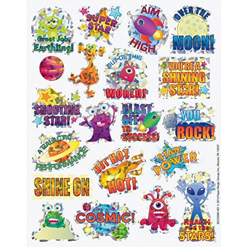 80 SPARKLY Prism - OUTER Space Themed STICKERS - OVER the Moon - BLAST Off to Success REACH for the Stars - SHOOTING Star - Teacher Motivational Rewards EDUCATION Classroom - Decal Prism