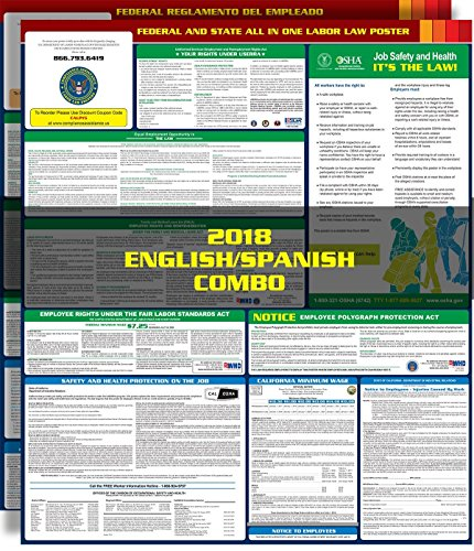 "Compliance Assistance: Arizona 2018 - All In One State and English / Spanish Combo - Up to Date 2018 Ready "", Thick Durable Lamination, Compact, OSHA State & Federal Compliant"