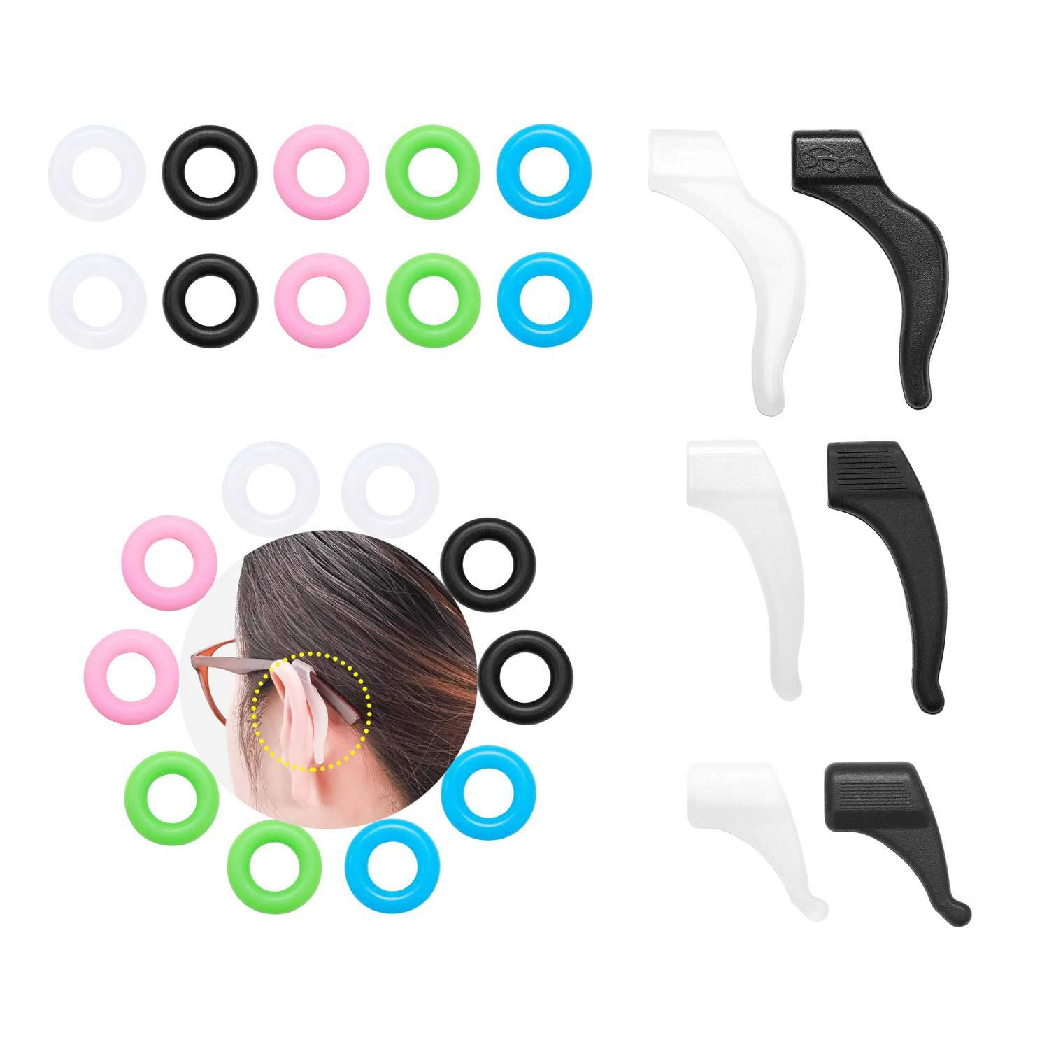 Litorange 64 Pairs Kids and Adults Comfortable Silicone Glasses Ear Hook,Anti-Slip Temple Tip Holder Ring For Spectacle Sunglasses Reading Sports Eyewear Eyeglass Frame Accessories by Litorange