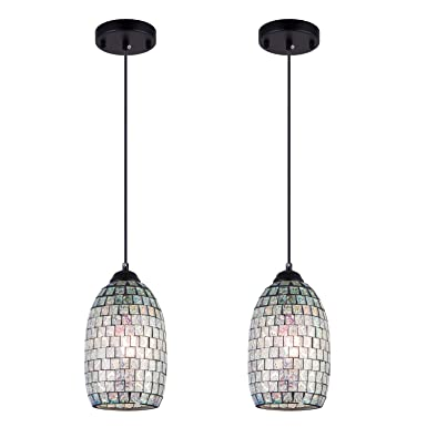 SHENGYADI Modern Mini Pendant Light with Hand Crafted Mosaic Shape, Stained Glass Pendant Lighting for Kitchen Island Dining Room Restaurant Bar Cafe Shop, Pack of 2