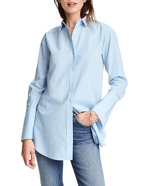 3e4cb25765ea hodoyi Women Boyfriend Buttons Down Plain High Low Lapel Shirt Dress(S,Blue)