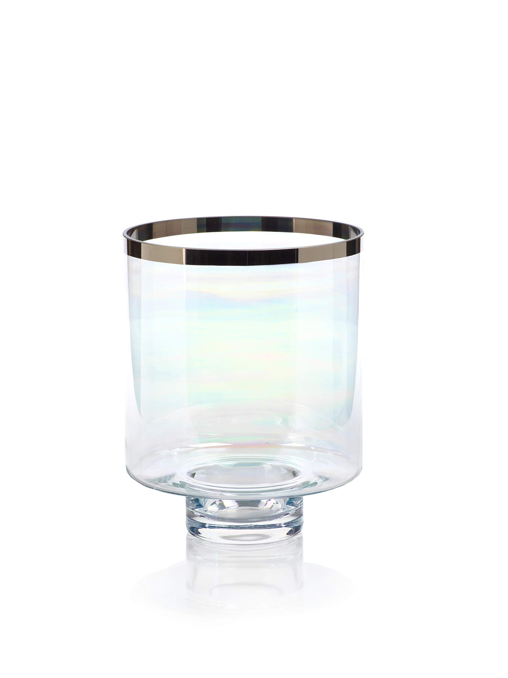 Zodax Pearl Luster Glass Platinum Rim, Large Hurricane, Clear