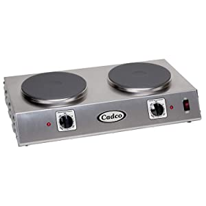 """Cadco Double Cast Iron Hot Plate - (2) 7-1/2"""" cast iron burners"""