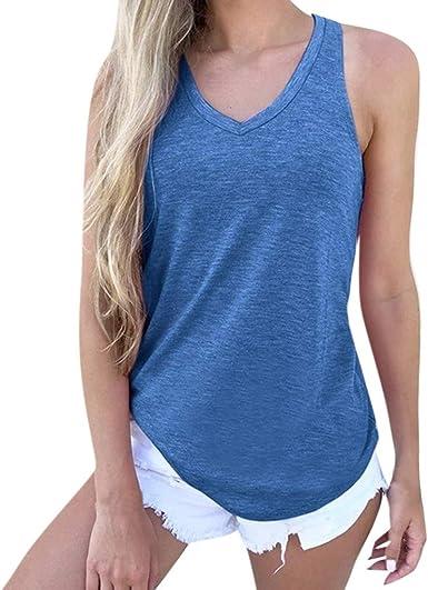 Camisetas Tirantes Mujer Riou Verano Sexy Mujer Blusas sin Mangas con Cuello en V Sueltas Ocasionales sólidas Casual Camiseta Básica Tops: Amazon.es: Ropa y accesorios