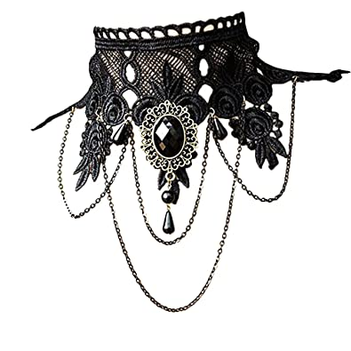 7899867249c51 ... INCUK Choker Necklace Women's Punk Style Gothic Black Lace Tassels  Tattoo Choker Chain Bead Pendant Necklace for Wedding Party: Amazon.co.uk:  Jewellery
