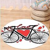 VROSELV Custom carpetValentines Day Love Decor Bike Illustration With Love Heart And Drops Modern Hipster Fashion Retro Art Bedroom Living Room Dorm Decor Round 72 inches