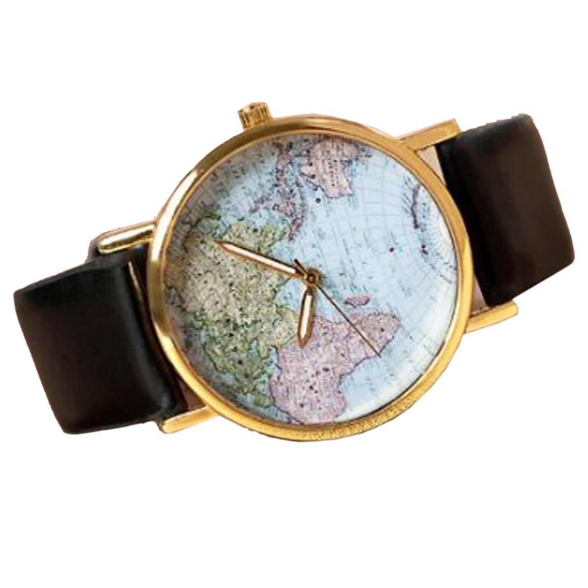 Amazon.com: Retro World Map Womens Quartz Wrist Watch Black ...
