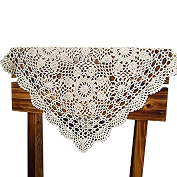 QEES Hecho a Mano Crochet Doilies algodón Encaje Cuadrado Mesa manteles Individuales, sofá Hueca de