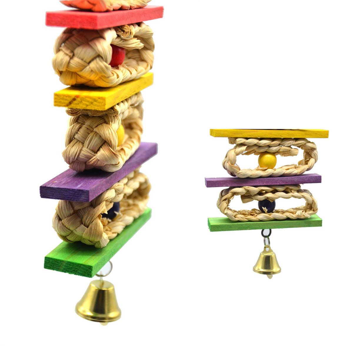 Homiego Natural and Colorful Knots Block Parrot Chewing Toys for Small and Medium Birds